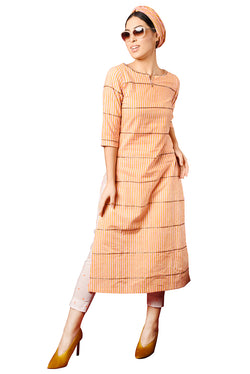 Orange Suit - Pink Striped And Embroidered Straight