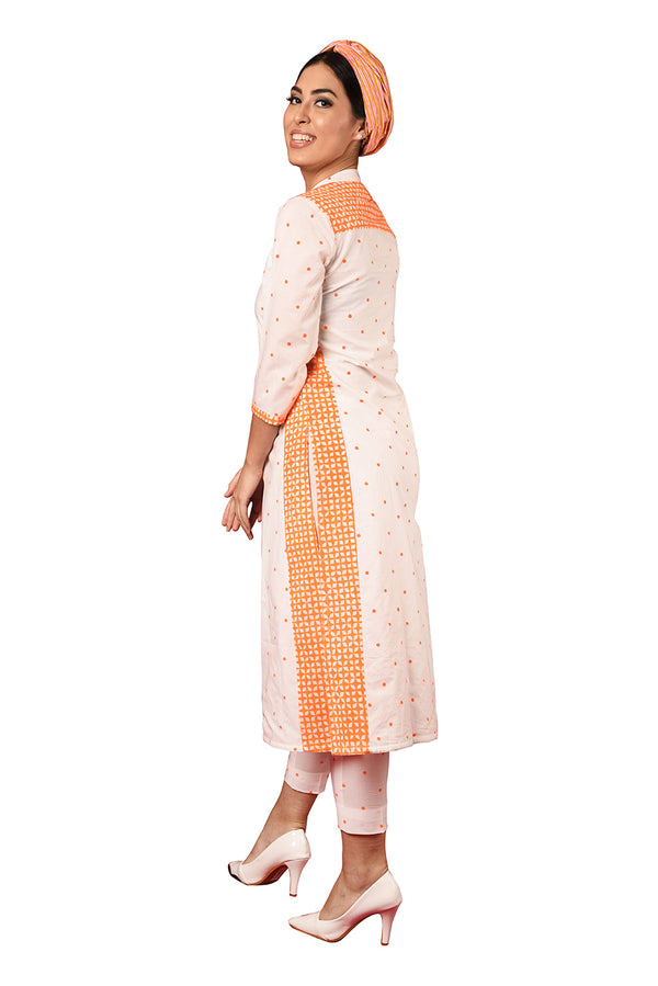 White Suit- Orange Polka Dot A-Line