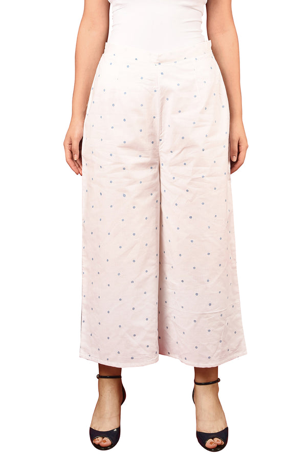 White Plazzo Pant - Blue Polka