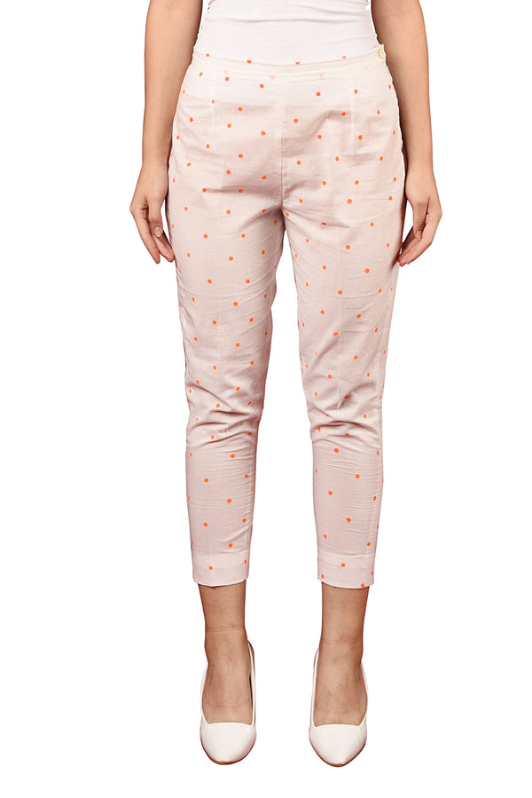 White Pant - Orange Polka Straight