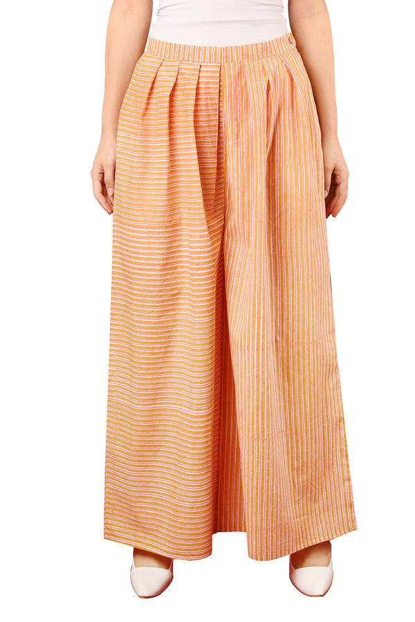 Orange Plazzo - Pink Stripes