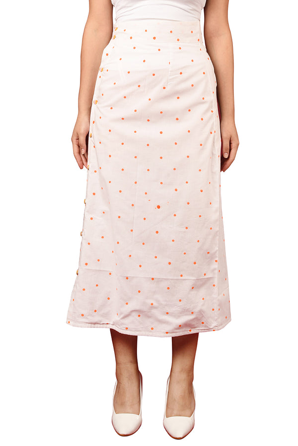 White Skirt - Orange Polka Mid-Calf