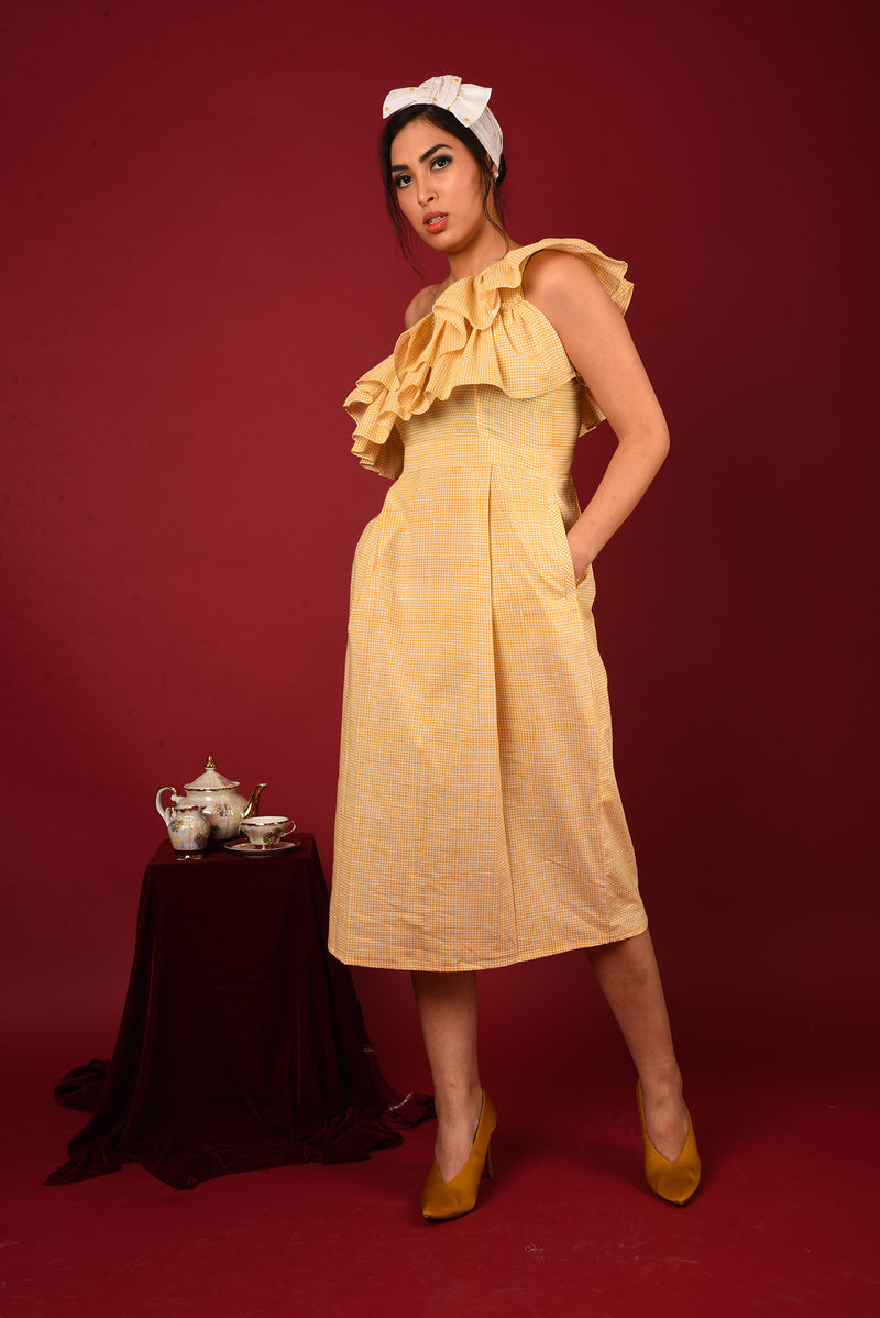 Yellow Dress - One Off Shoulder A-line