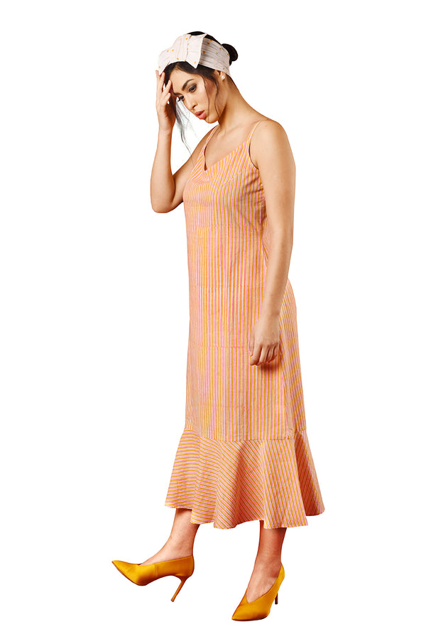 Orange Dress - Pink Stripes A-Line