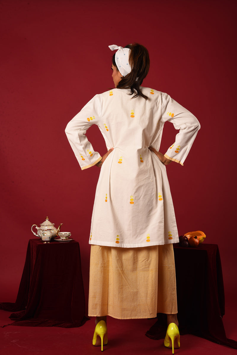 Yellow Suit - White Jacket Style Checkered And Embroidered