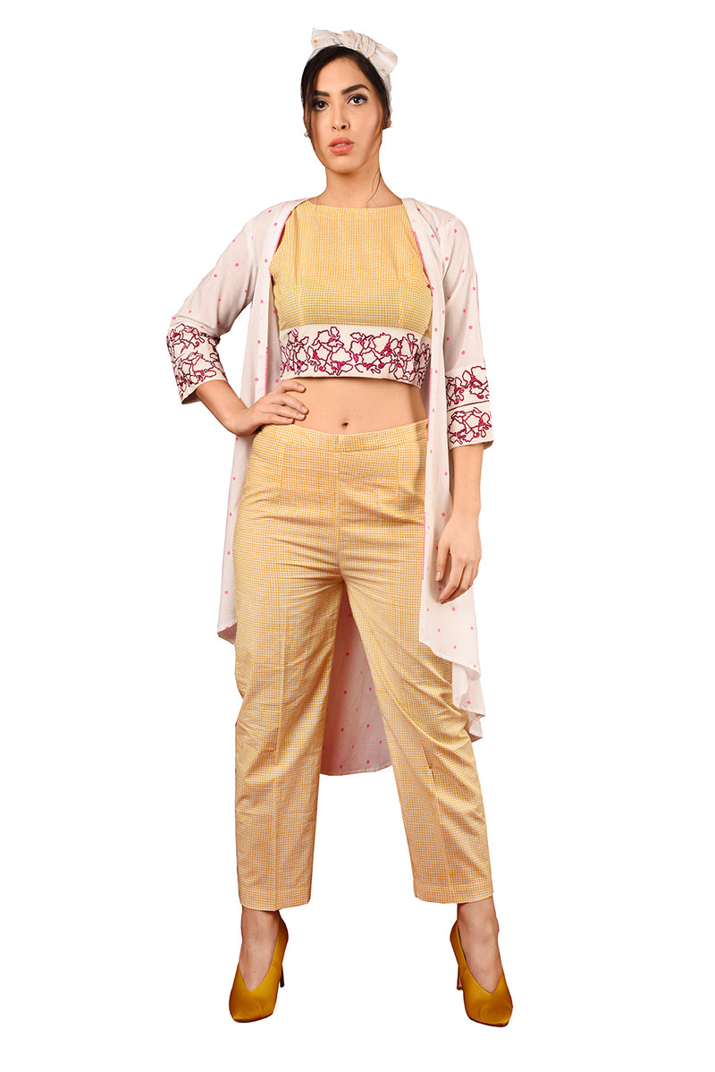 White Suit - Yellow Crop Top A-Line