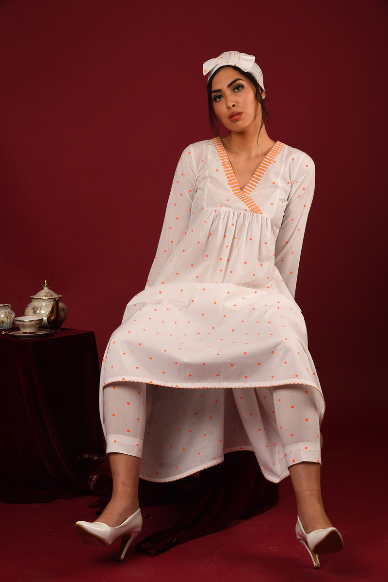 White Angrakha Suit - Striped & Polka Gathered