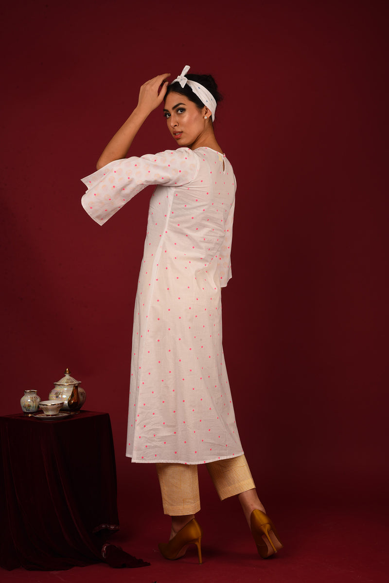 White Suit - Fluorescent Pink Polka Side Slit