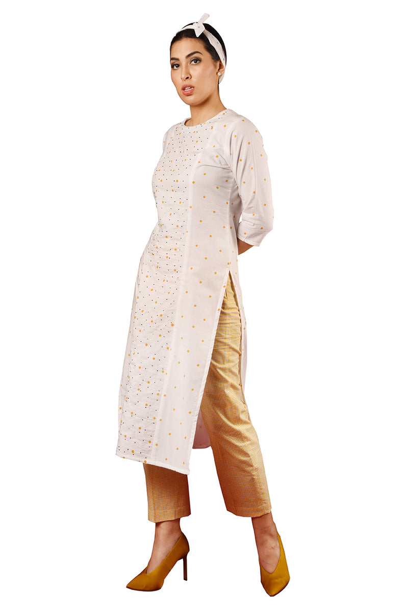 White Suit - Mustard Polka And Embroidered Straight