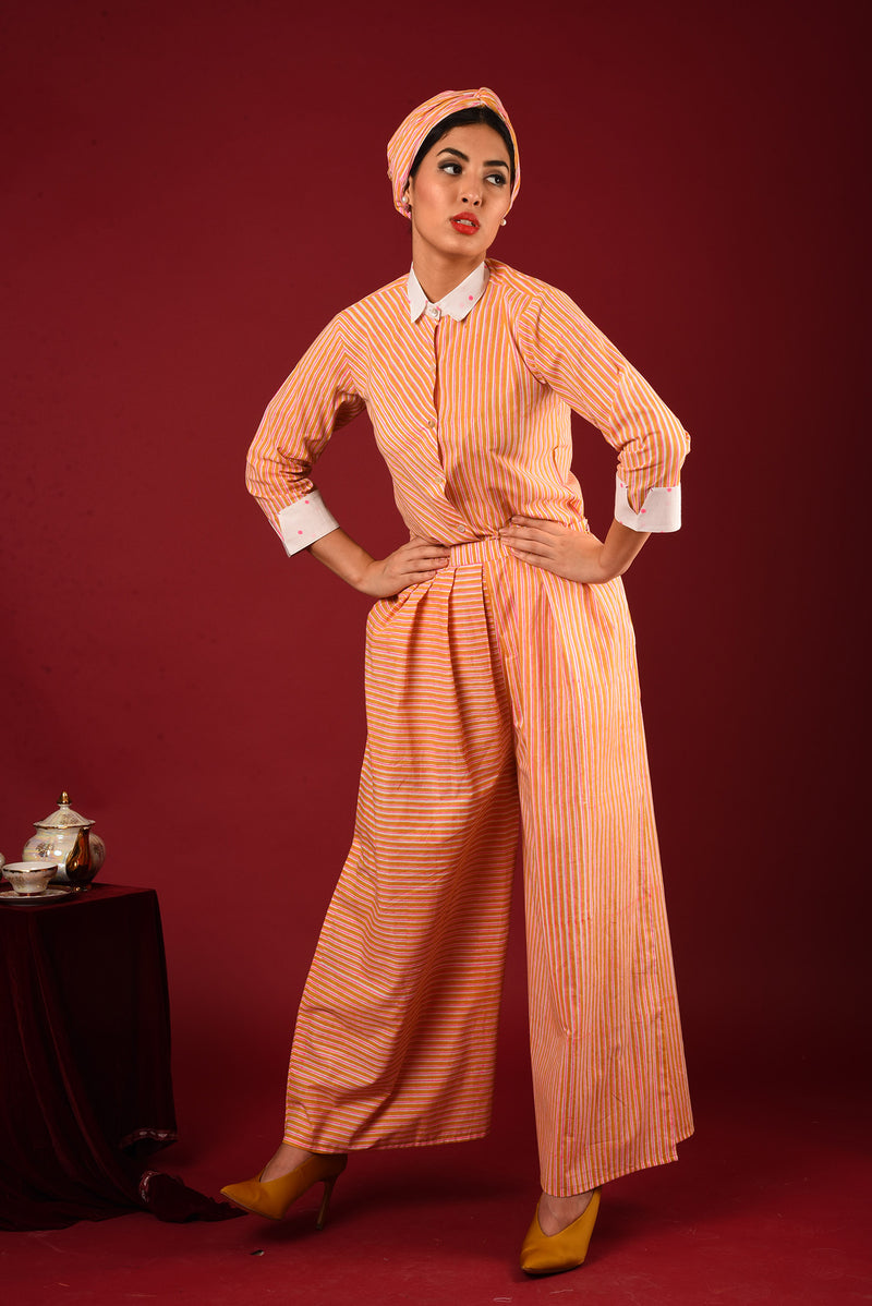 Orange Shirt Suit - Polka And Striped Block Printed