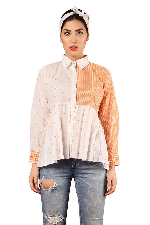 White Shirt - Orange Polka & Stripes Full Sleeve