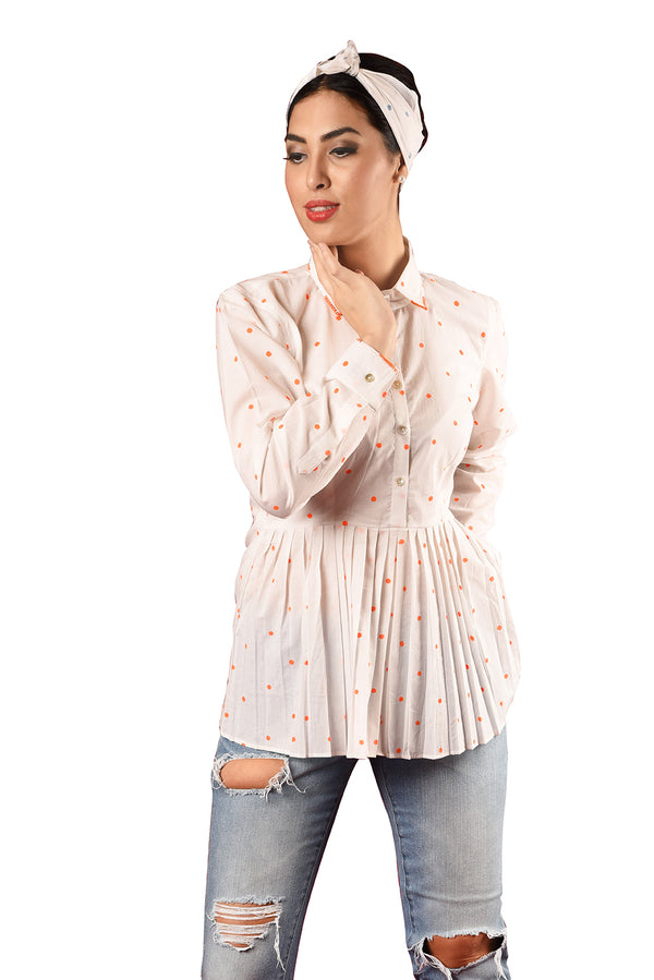 White Shirt - Orange Polka Block Print Full Sleeve