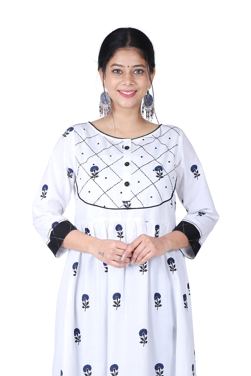 White A-Line Ethnic Suit