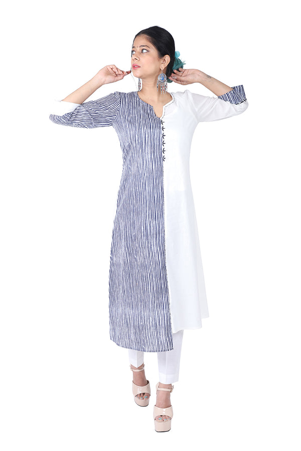 Blue and White Straight Ethnic Suit