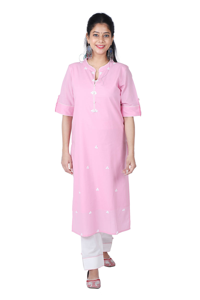 Pink Straight Ethnic Suit