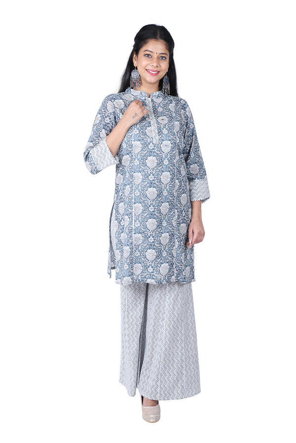 Gray Straight Ethnic Suit