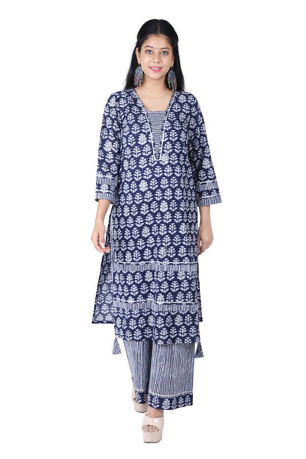 Blue Straight Ethnic Suit