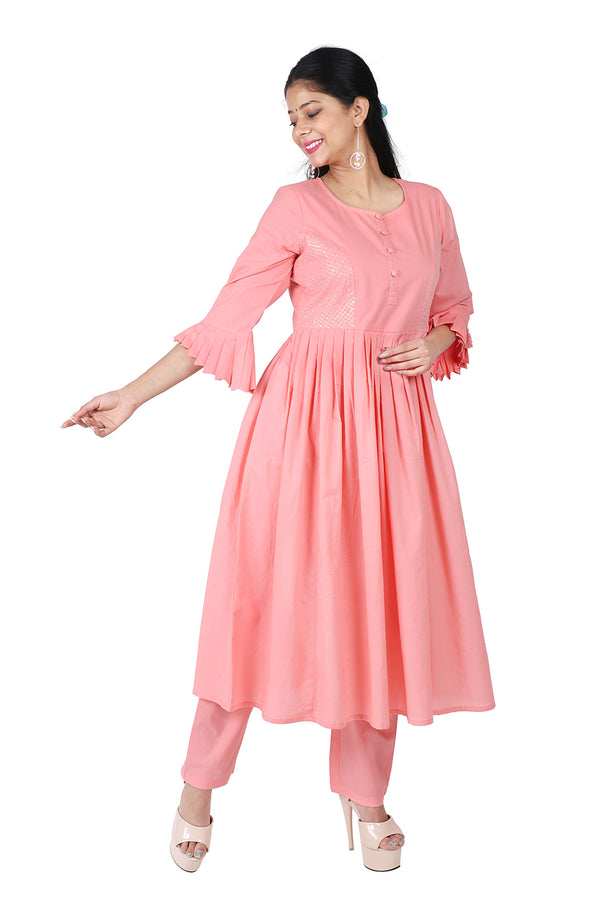 Peach A Line Ethnic Suit