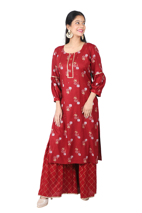 Maroon Straight Ethnic Suit
