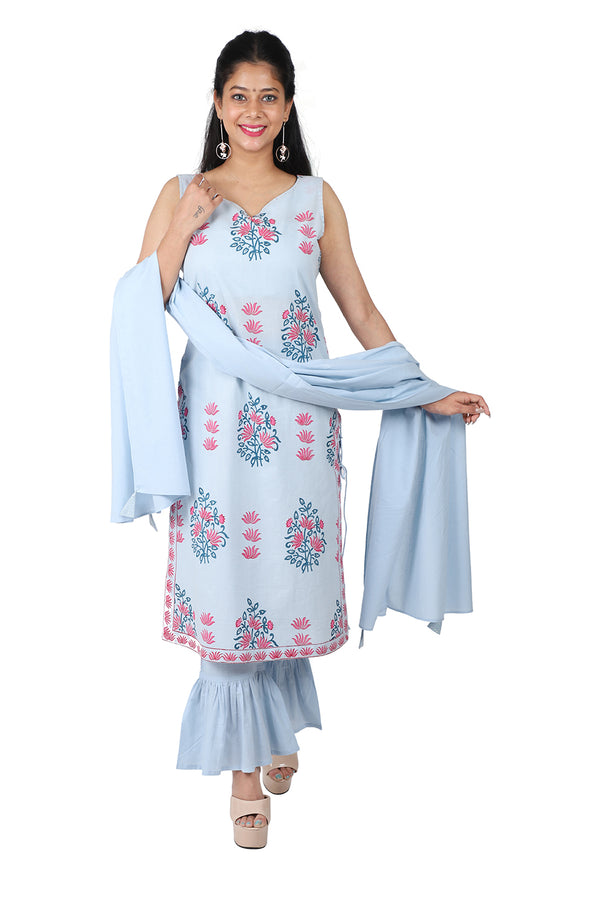 Blue Straight Ethnic Suit Set