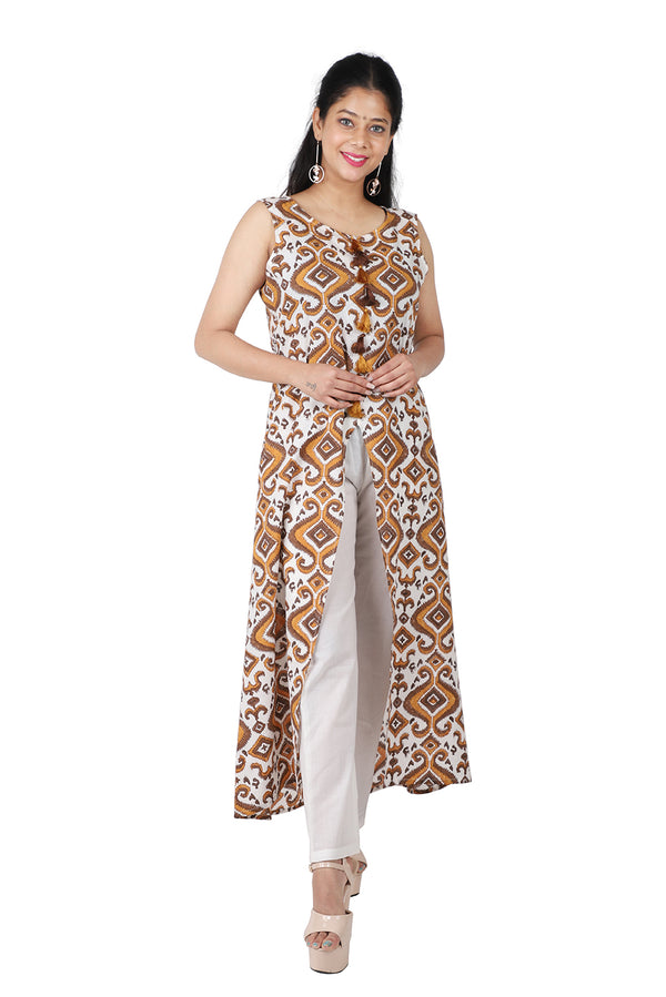 Brown Front Slit Ethnic Suit