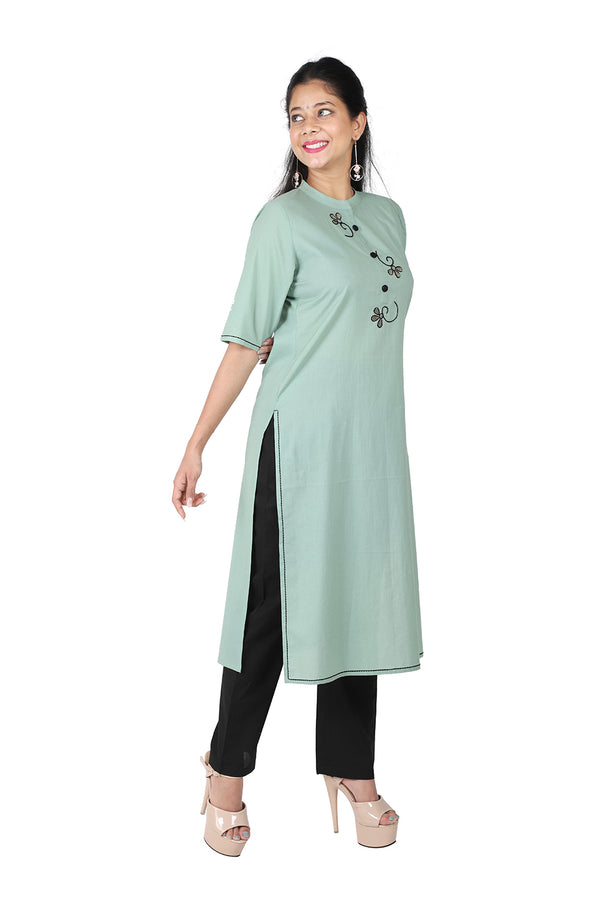 Green Straight Ethnic Suit