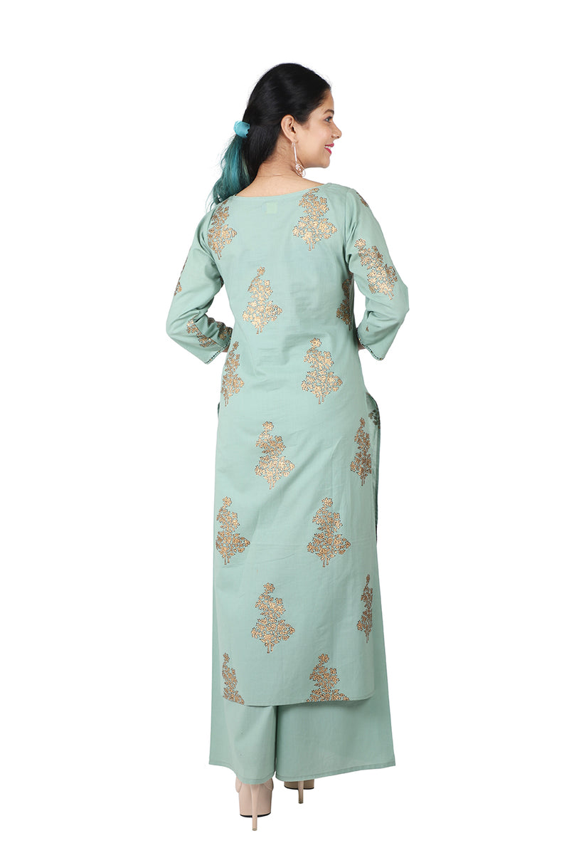 Green Front Slit Ethnic Suit - Gold Floral
