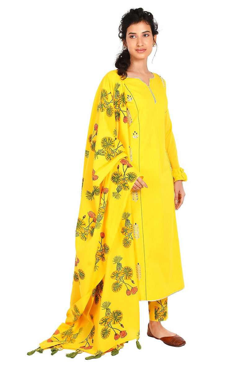 Yellow Suit Set - Kesar Tulsi Straight