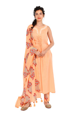 Orange Suit Set - Kusum Tulsi A-Line