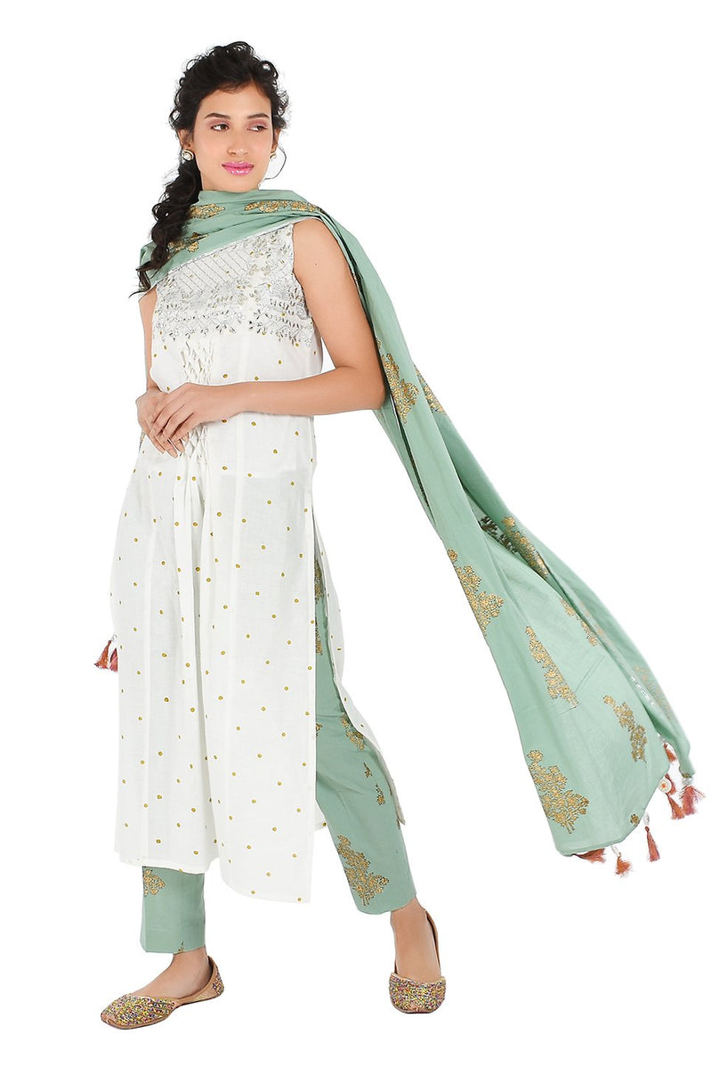 White Suit Set - Tilakam Tulsi A-Line
