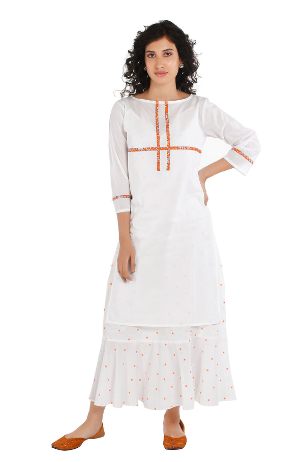 White Kurti - Tic Tac Toe Side Slit