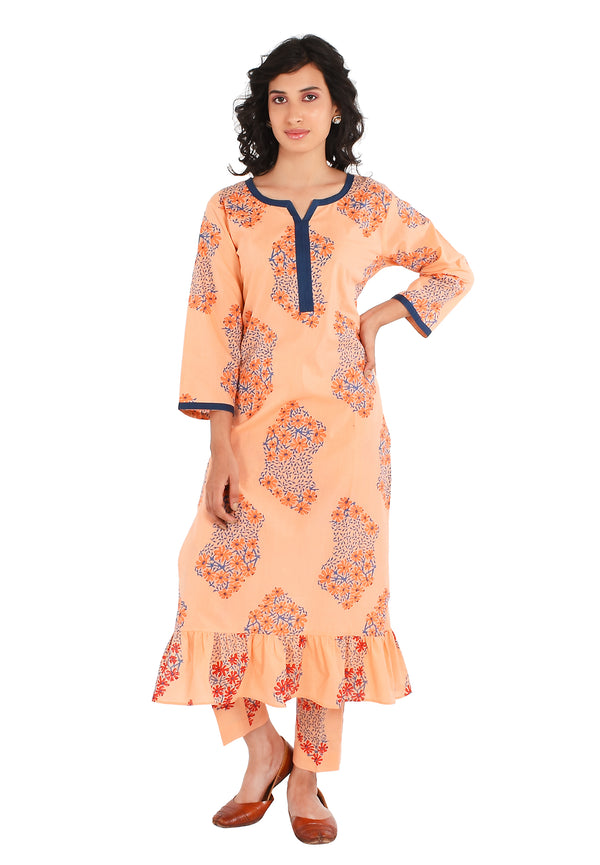 Orange Kurti - Daisy Side Slit