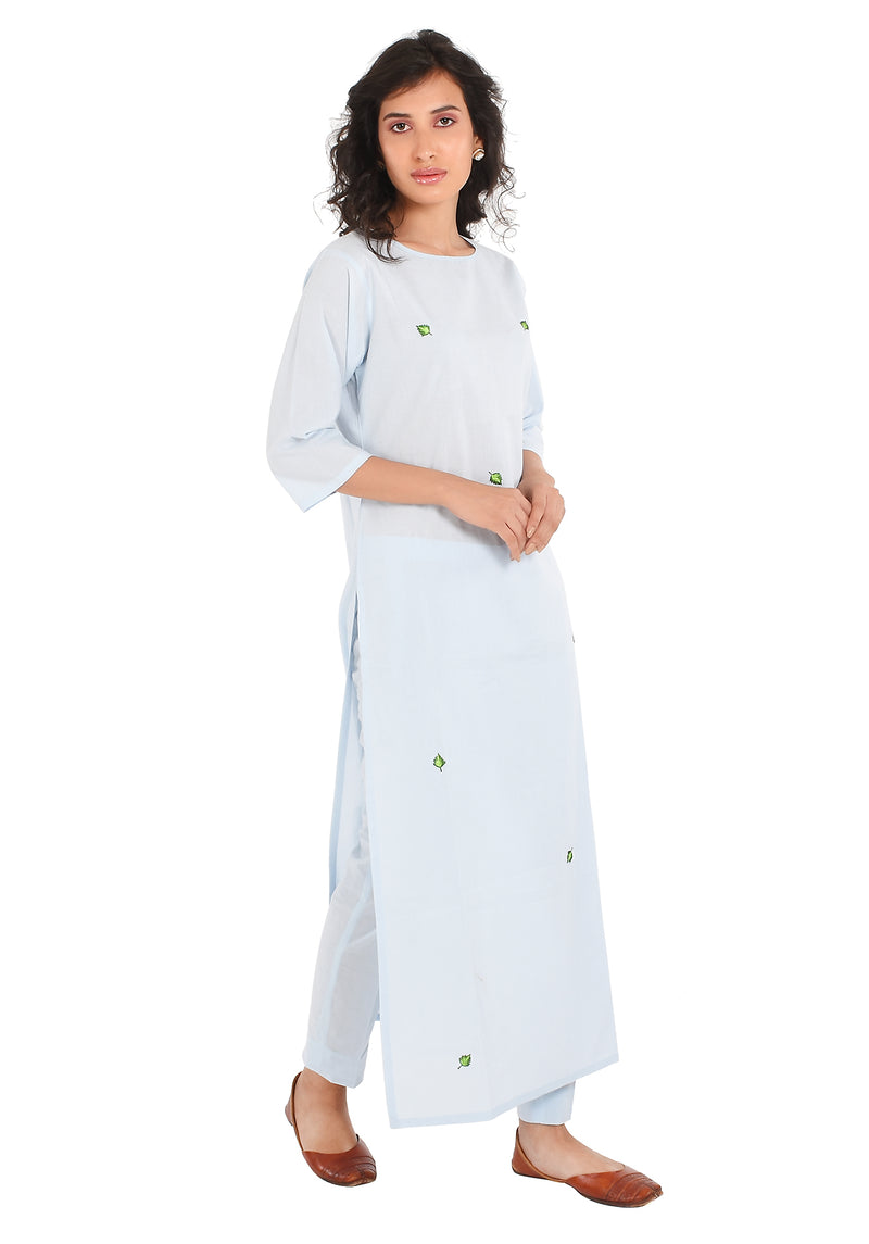 Blue Kurti - Leaf Embroidered Side Slit