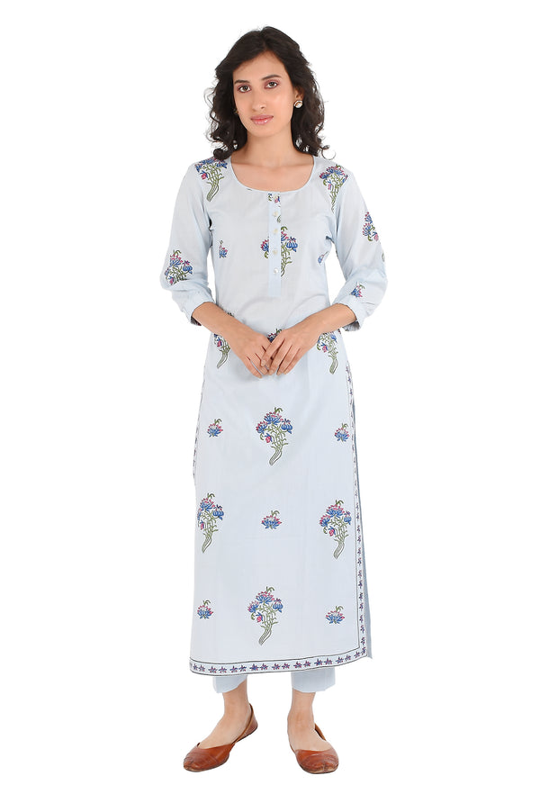 Blue Kurti - Lily Bouquet Side Slit