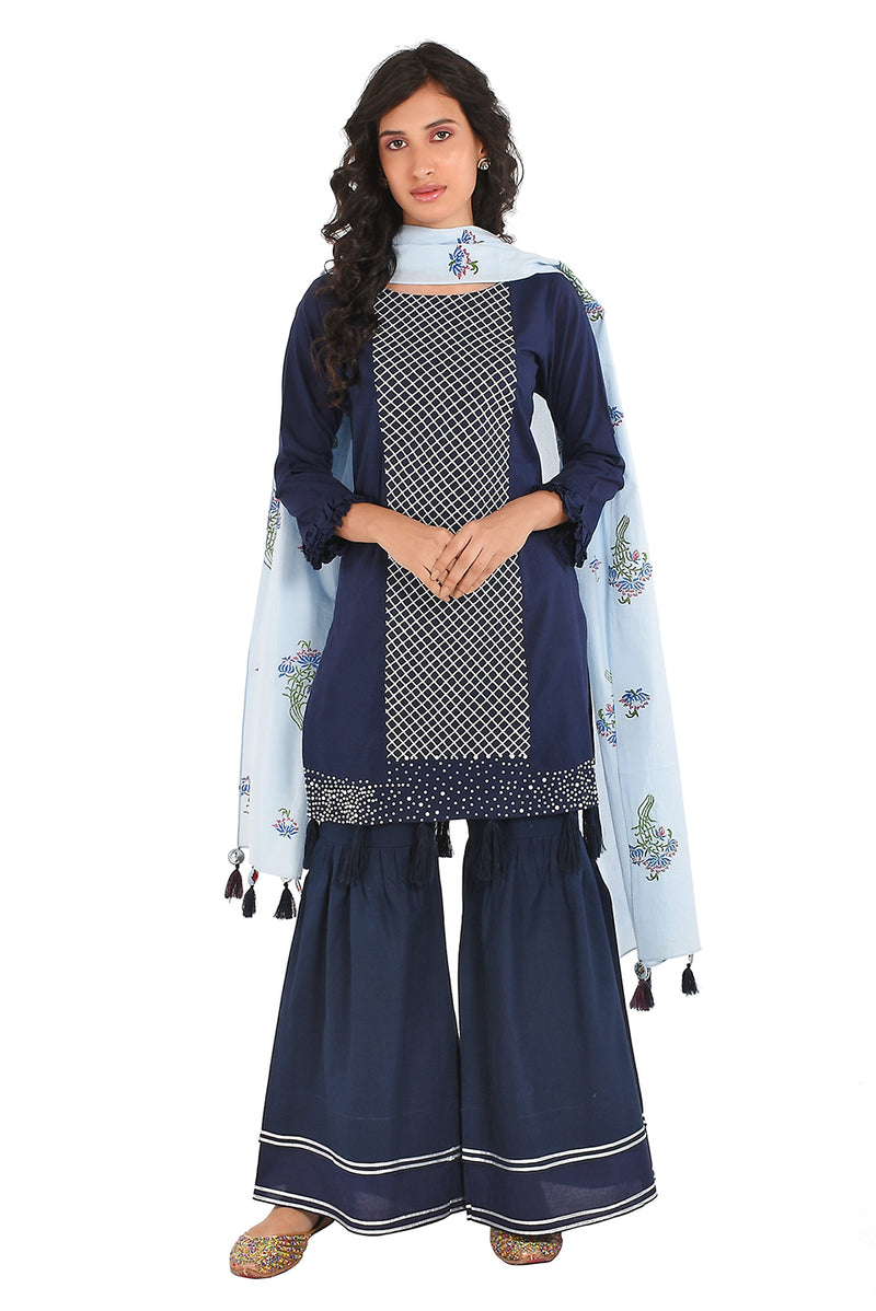 Blue Suit Set - Neel Varn Tulsi Straight Sharara