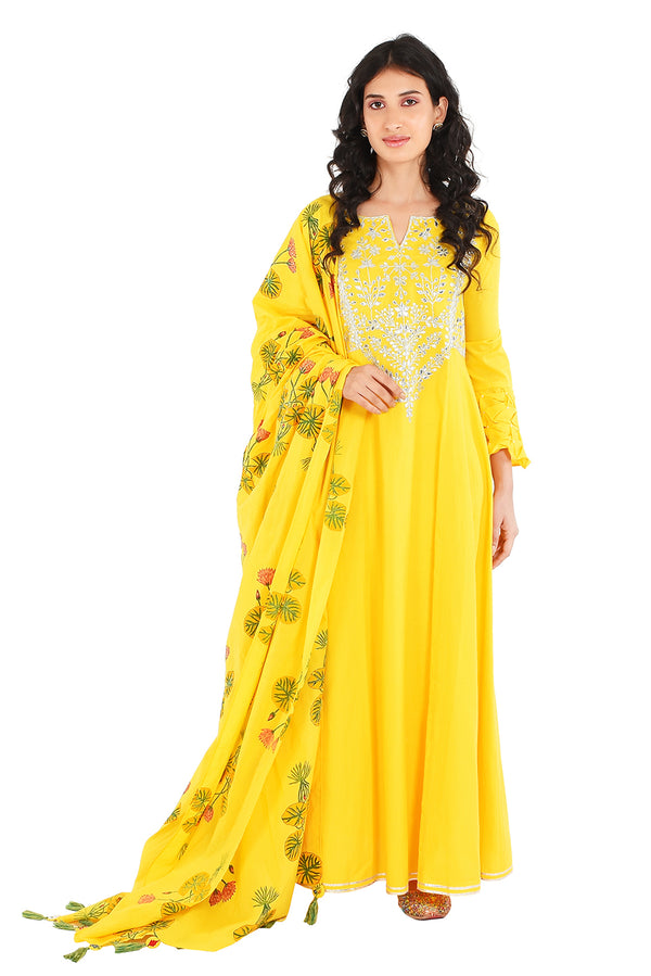 Yellow Suit Set - Mukhi Tulsi A-Line