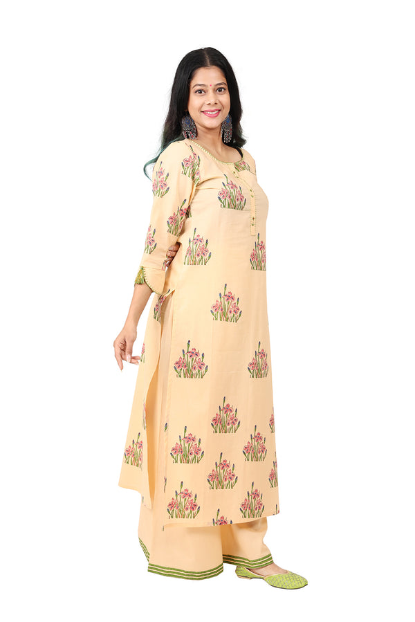 Beige Straight Ethnic Suit - Floral Farm