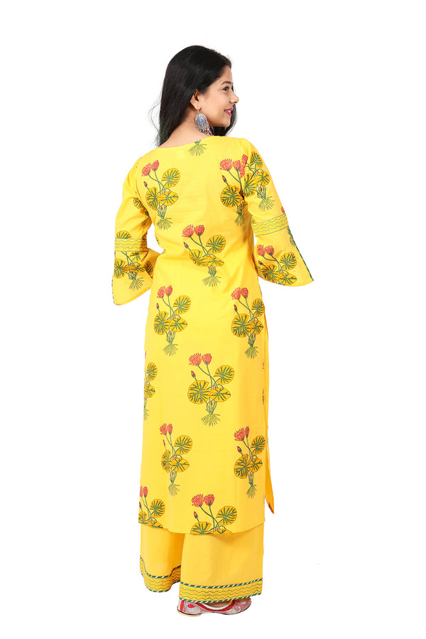 Yellow Straight Ethnic Suit - Hybrid Lotus
