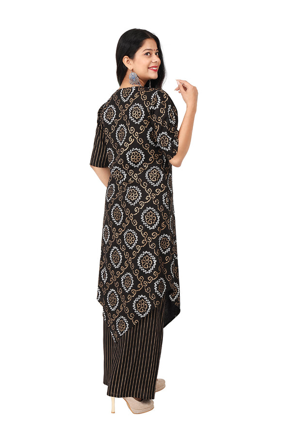 Black A Line Ethnic Suit