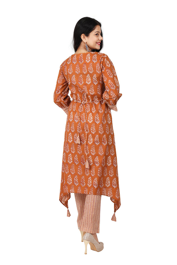 Orange A Line Ethnic Suit