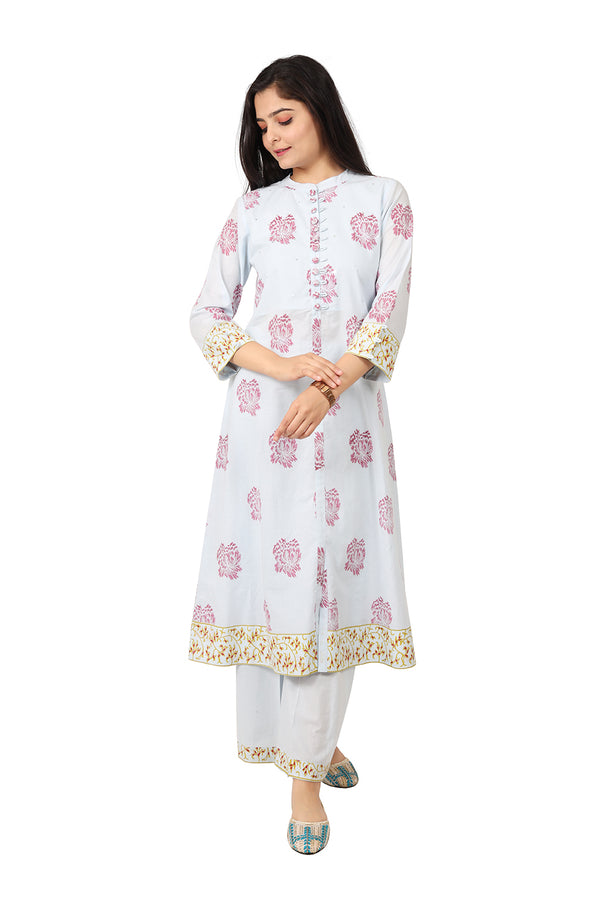 Powder Blue A-Line Ethnic Suit