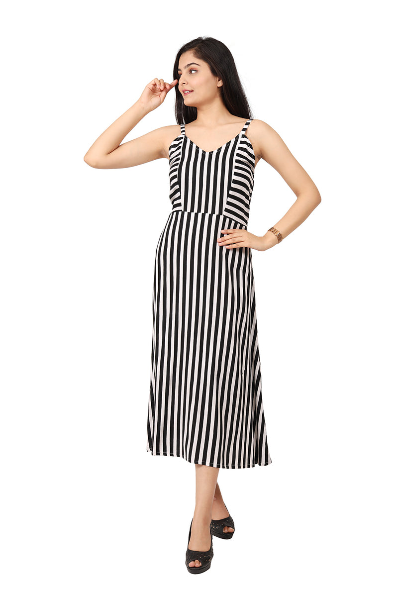 Black and White Flared Dress - Striped