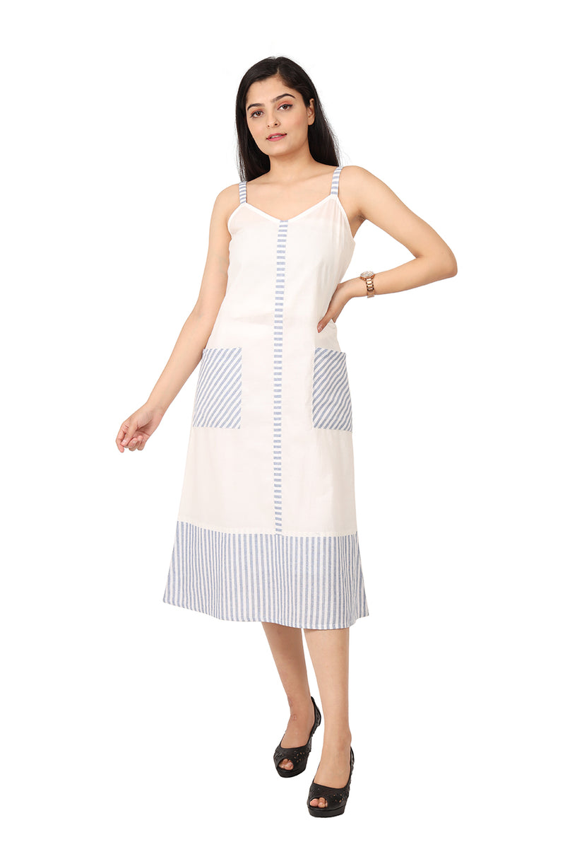 White and Blue A-Line Dress