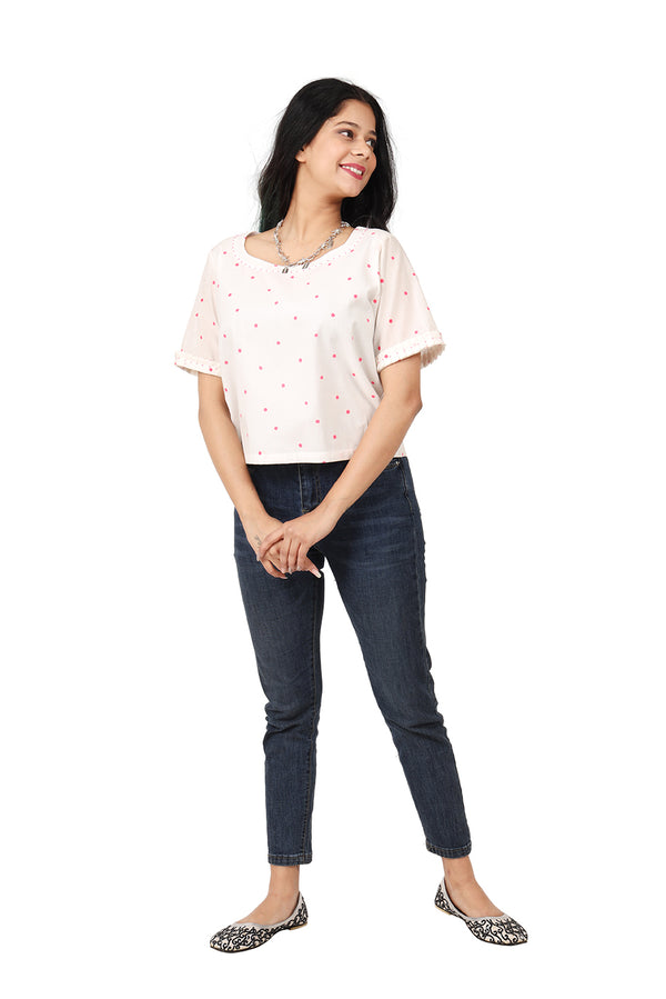 White Half Sleeves Top - Pink Polka