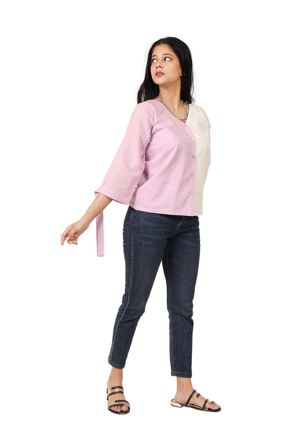Pink and White Quarter Sleeve Top