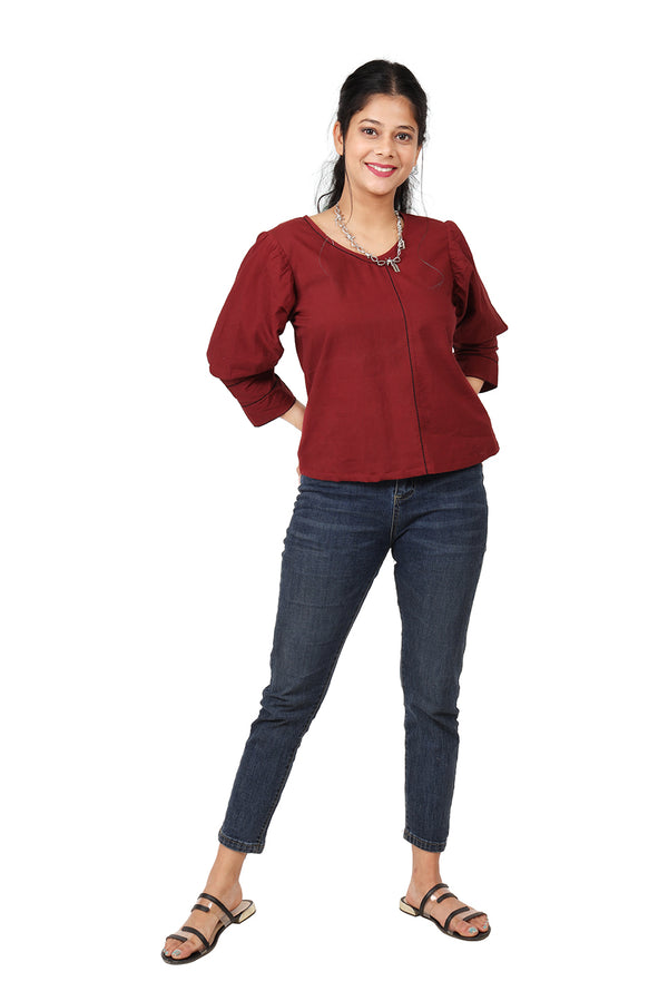 Maroon Quarter Sleeve Top
