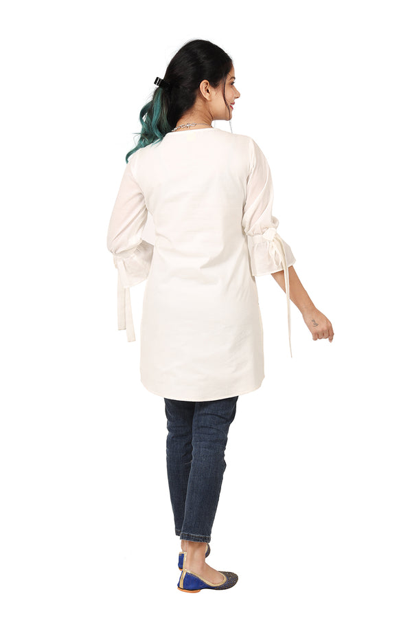 White Quarter Sleeve Top