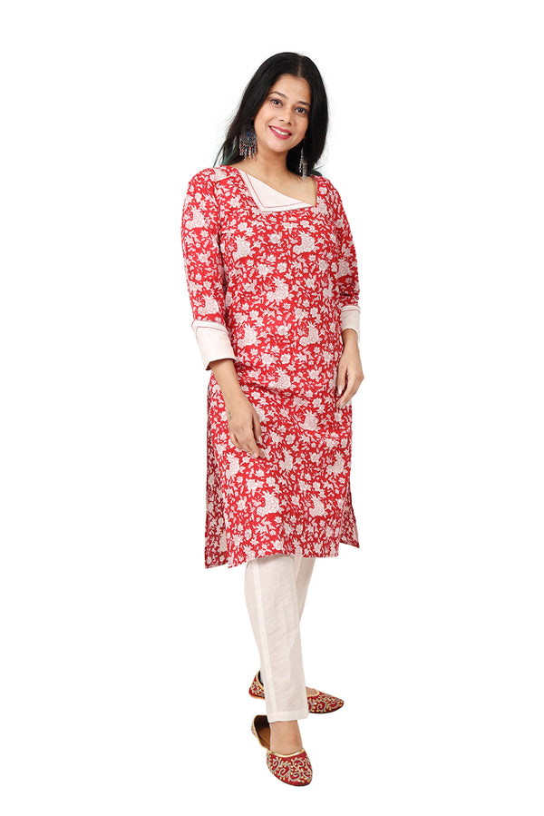 Red Kurti - Tsunami Side Slit