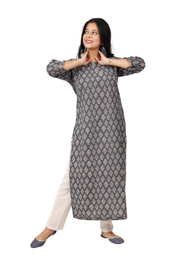 Gray Side Slit Kurti