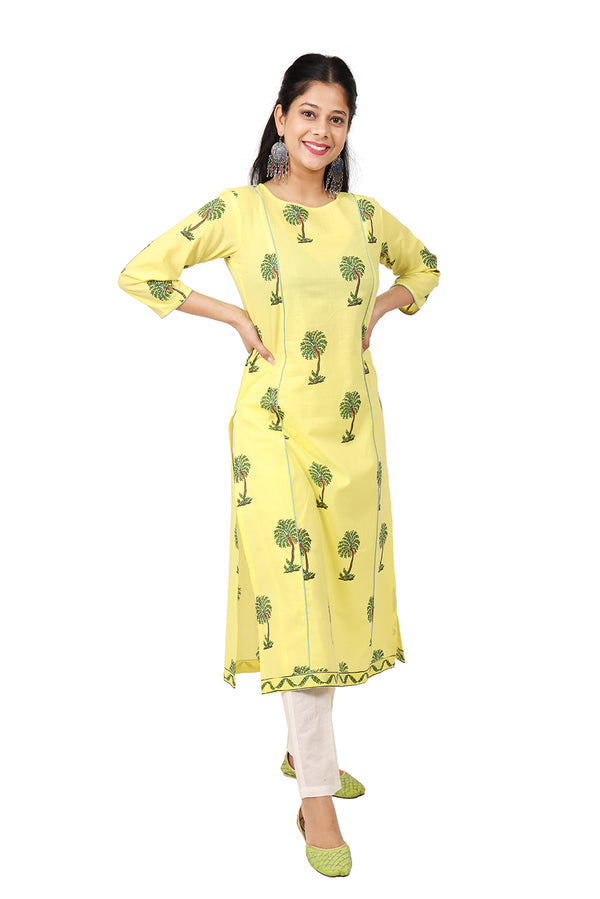 Yellow Kurti - Coconut Tree Side Slit